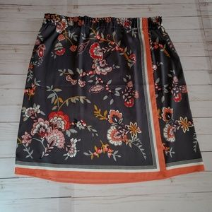 LOFT Gray Floral Wrap Skirt Size XL